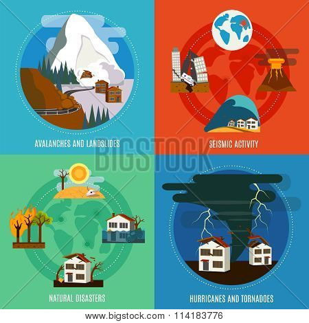 Natural Disaster 4 Flat Icons Set