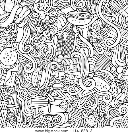 Cartoon hand-drawn doodles on the subject of fast food seamless pattern