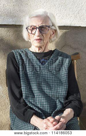 Portrait Of A Ninety Years Old Grandma