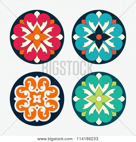 Set Of Vector Ornamental Round Tiles