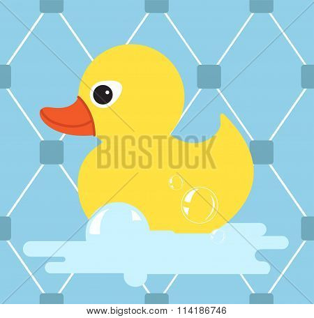 Rubber Duck Icon.yellow Duck.vector Illustration With  Seamless Pattern