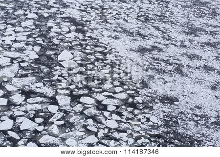 Ice With Snow On River