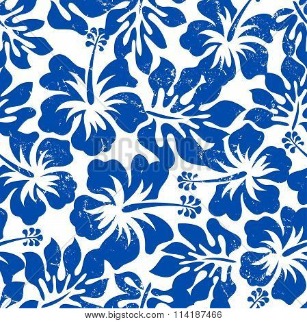 Tropical Weathered Blue Hibiscus Seamless Pattern