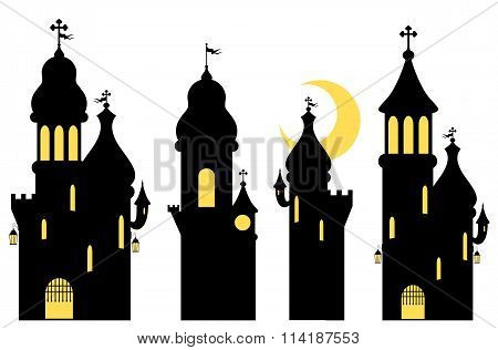 Collection Of Fairy Tale Castles. Silhouettes. Isolated On White