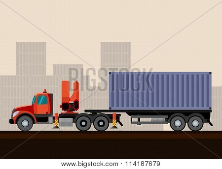 Truck Crane Trailer With Cargo