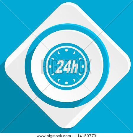24h blue flat design modern icon for web and mobile app