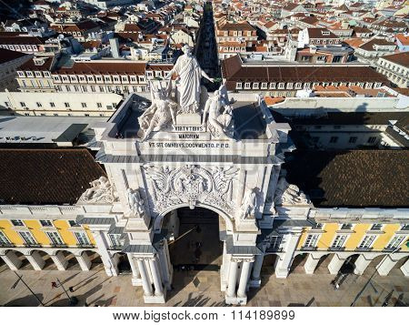 Aerial View of Baixa Chiado with Augusta Arch in Lisbon, Portugal