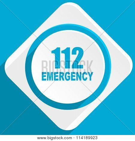 number emergency 112 blue flat design modern icon for web and mobile app