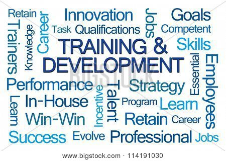 Training and Development Word Cloud on White Background