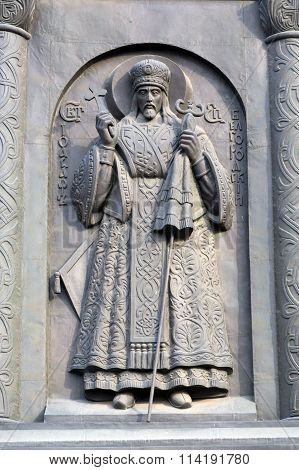 Reliefs second tier of monument to Vladimir the Great in Belgorod. Russia