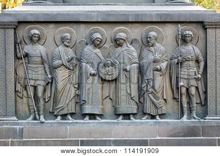 Reliefs lower tier of monument to Vladimir the Great in Belgorod. Russia