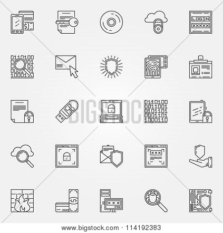 Internet security line icons