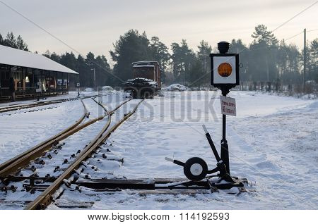 PERESLAVL, RUSSIA - 01/01/16: Traditional railway station with iron switch in Russian train museum