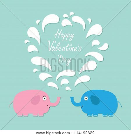 Happy Valentines Day. Love Card. Pink And Blue Elephants With Heart Fountain Flat Design