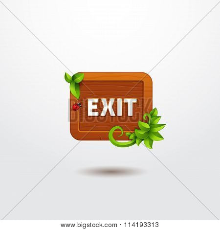 Game interface button exit on wooden template