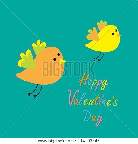 Happy Valentines Day. Love Card. Two Flying Cartoon Birds. Card. Flat Design