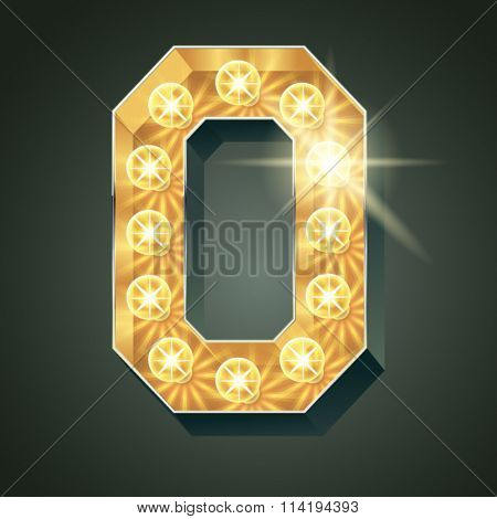 Vector shining light up lamp alphabet in hard font. Letter O