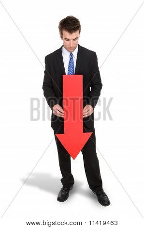 Business Man Arrow Down