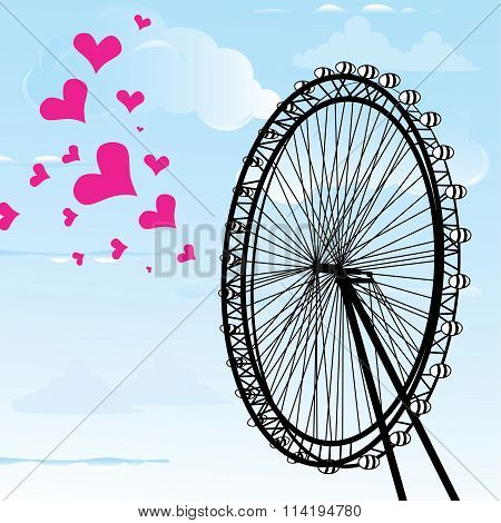 I Love You London Poster Design And Hearts Vector Illustration  And London Eye Design, Vector Illust