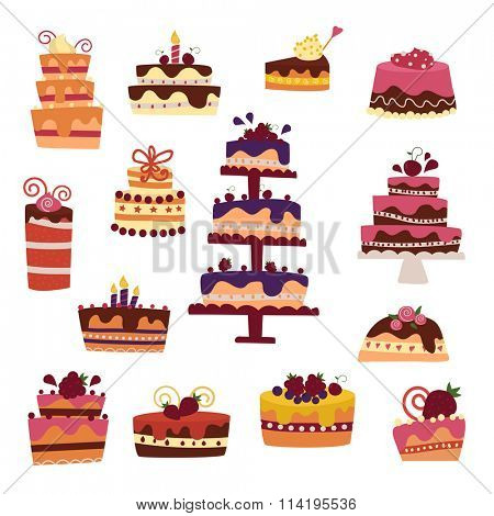 Vector cake collection. Vector cakes isolated on white background. Cute flat cakes icons. Hand made style cakes