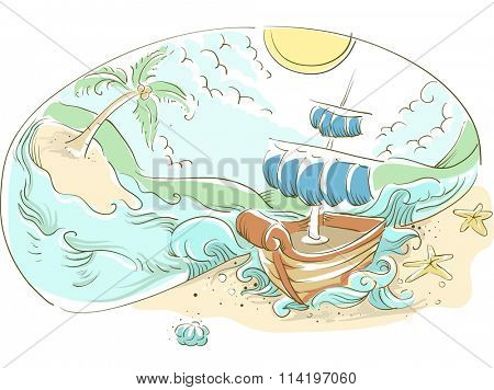 Illustration of a Ship Stuck on an Isolated Island