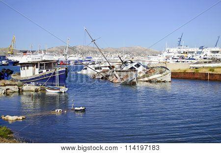 sunk boats at Salamis island Greece