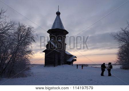Kondopoga, Karelia, Russia - January, 2016: Assumption Of Mary Wooden Church In Kondopoga City, Kare