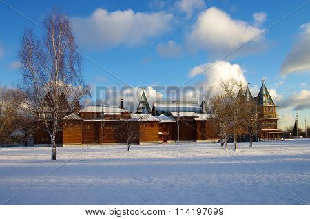 Moscow, Russia - December, 2015: Palace Of Tsar Alexei Mikhailovich In Kolomenskoye In Winter Day