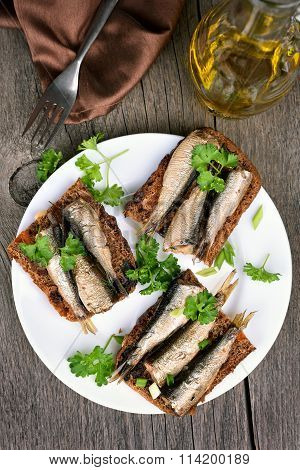 Sprats Sandwiches, Top View