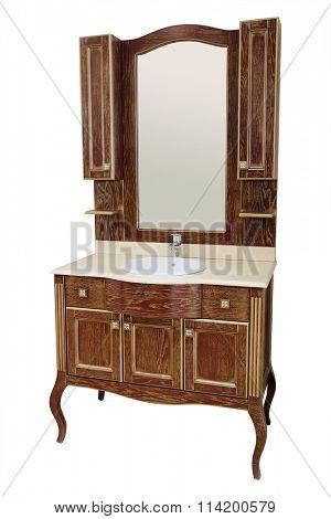luxury wooden washbowl with mirror in bathroom