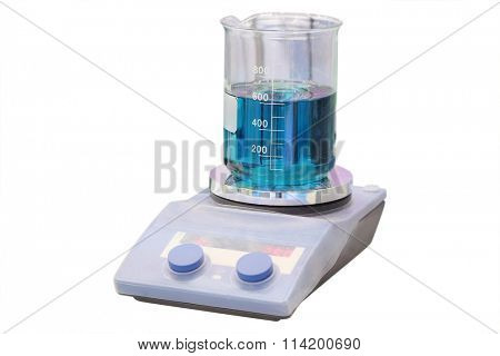 Laboratory equipment. Blue chemical substance in the beaker