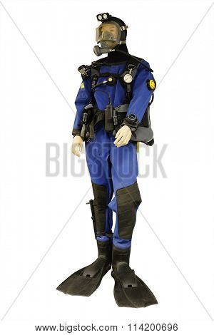 Mannequin is dressed in a blue diving suit