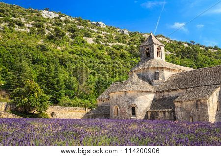 Ancient monastery Abbaye Notre-Dame de Senanque in Vaucluse, France