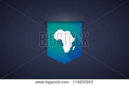 Long Shadow Ribbon Icon With  A Map Of The African Continent