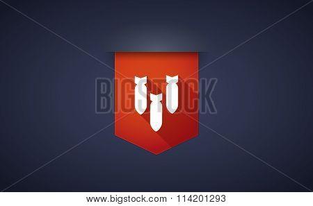 Long Shadow Ribbon Icon With Three Bombs Falling