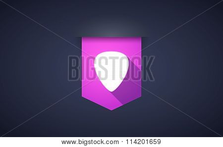 Long Shadow Ribbon Icon With A Plectrum