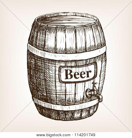 Barrel of beer sketch style vector
