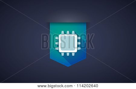 Long Shadow Ribbon Icon With A Cpu