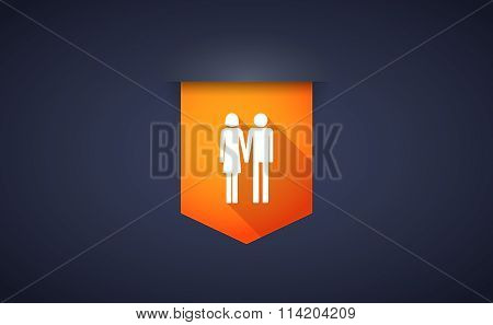 Long Shadow Ribbon Icon With A Heterosexual Couple Pictogram