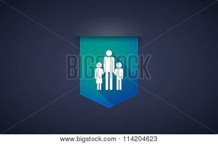 Long Shadow Ribbon Icon With A Male Single Parent Family Pictogram