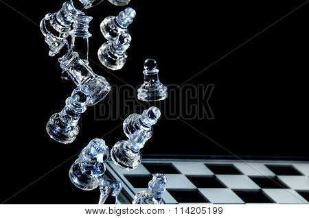 Falling Glass Chess Pieces
