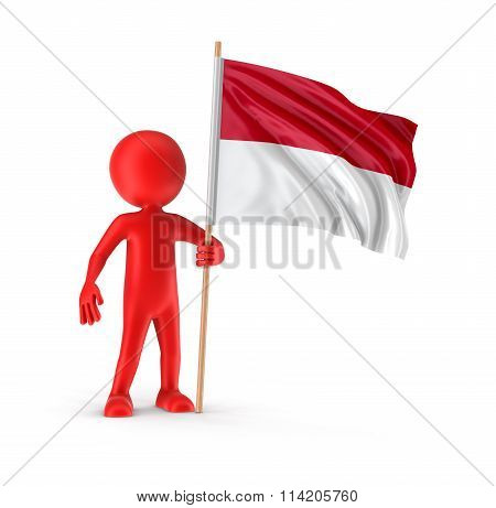 Man and Indonesian flag. Image with clipping path