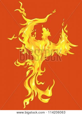 Illustration of a Golden Phoenix Against an Orange Background