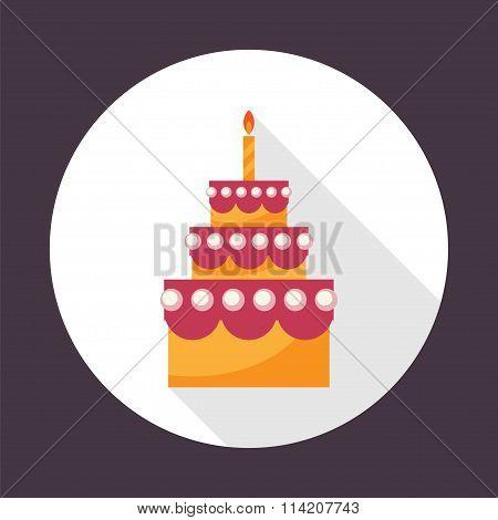 Birthday Cake Flat Vector Icon.