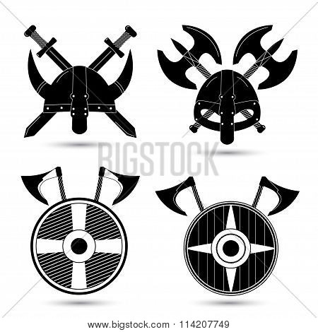 Vector set of  viking icons isolated on white background
