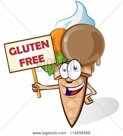 Ice Cream Cartoon With Gluten Free Signboard Isolated