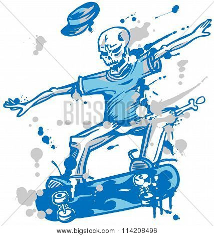 Skeleton Skater  On White Background