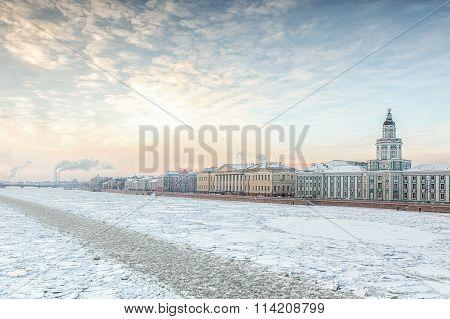 Neva River In Winter, Embankment Of Vasilevsky Island, Saint Petersburg
