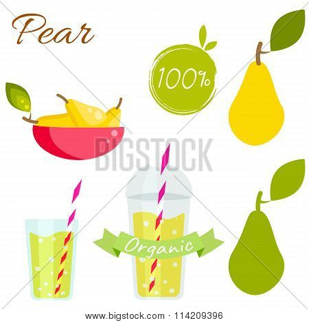 Pear Fruit And Juice Vector Set.
