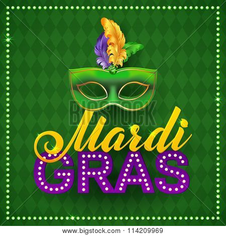 Mardi Gras Party Mask Poster.calligraphy And Typography Card. Lights, Feathers. Holiday  Or Placard